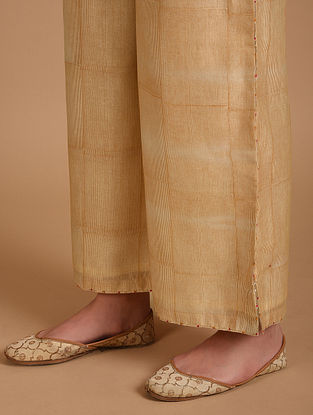 Ivory and Yellow Embroidered Chanderi Pants with Cotton Lining