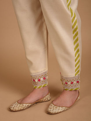 Ivory  Embroidered Chanderi Pants with Cotton Lining