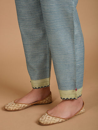 Ivory and Blue Embroidered Chanderi Pants with Cotton Lining