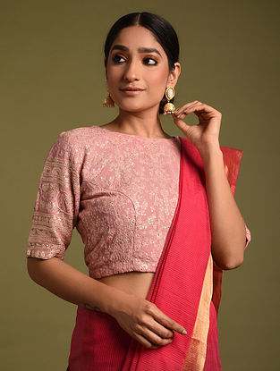 Pink Embroidered Georgette Blouses