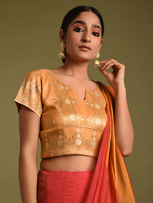 Orange Handwoven Viscose Silk Blouses