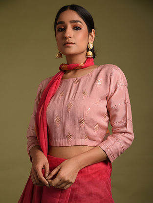 Pink Embroidered Chinnon Blouses