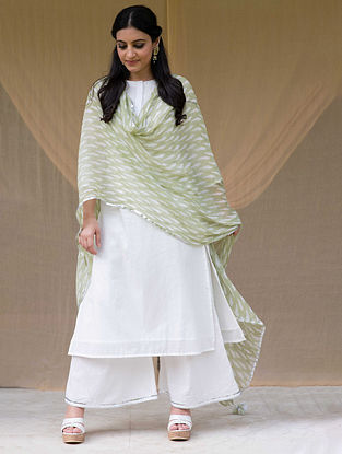 White Embroidered Cotton Kurta with Lace Trimmed Pants (Set of 2)
