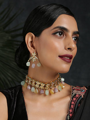 Multicolored Gold Plated Kundan Necklace With Earrings