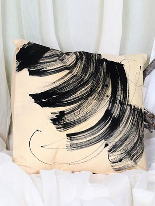 Pandulipi Screen printed Cotton Canavas Cushion Cover (L-16in, W-16in)