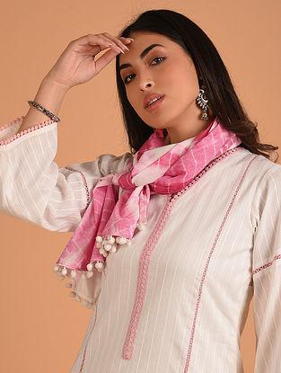 Pink Shibori Cotton Stole with Lace Trims