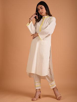 White Cotton Dobby Kurta with Lace Detaling