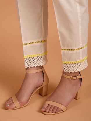 White Cotton Dobby Palazzos with Lace Detaling