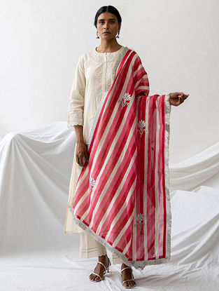 Pink Block Printed Silk Chanderi Dupatta with Hand Embroidery