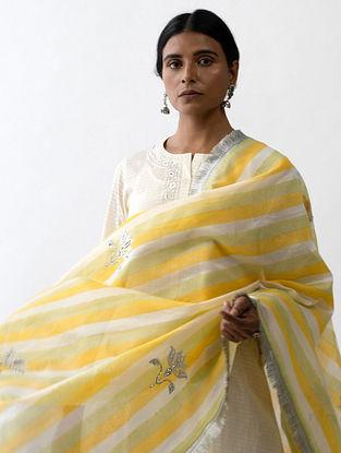 Yellow Green Block Printed Silk Chanderi Dupatta with Hand Embroidery