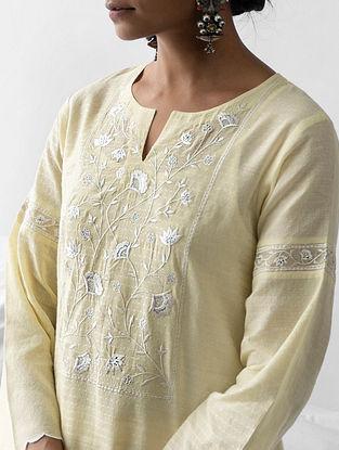 Pastel Yellow Embroidered Cotton Dobby Kurta