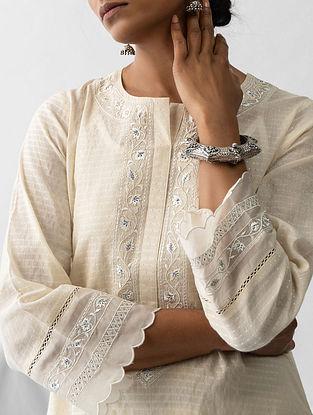 Ivory Embroidered Cotton Dobby Kurta