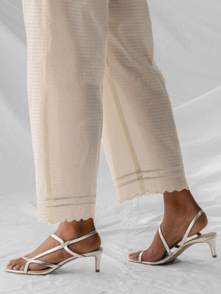 Ivory Embroidered Cotton Dobby Palazzos