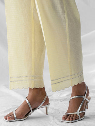 Pastel Yellow Embroidered Cotton Dobby Palazzos