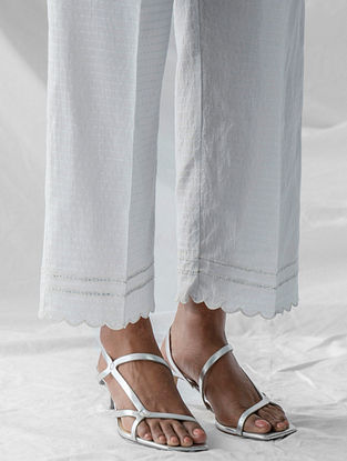 Pastel Blue Embroidered Cotton Dobby Palazzos