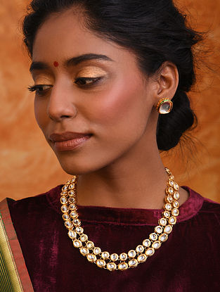 Gold Tone Kundan Necklace With Stud Earrings