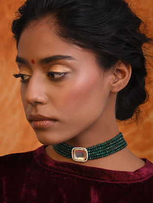 Green Gold Tone Kundan Beaded Choker Necklace