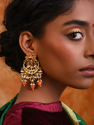 Orange Gold Tone Kundan Earrings With Pearls