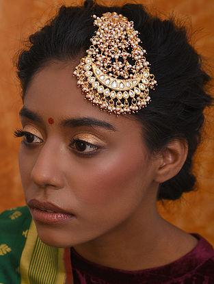 Gold Tone Kundan Passa With Pearls