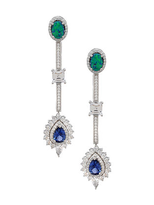 Blue Silver Earrings with Cubic Zirconia