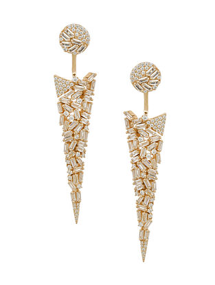 Gold Tone Silver Earrings with Cubic Zirconia