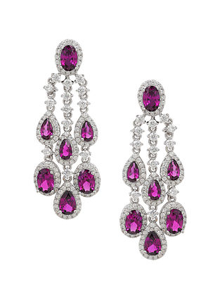 Pink Silver Earrings with Cubic Zirconia