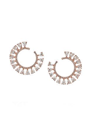 Rose Gold Silver Earrings with Cubic Zirconia