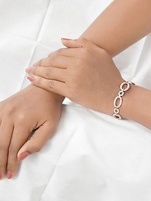 Dual Tone Silver Bracelet with Cubic Zirconia