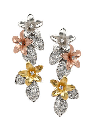 Dual Tone Earrings with Cubic Zirconia