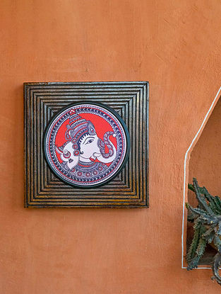 Multicoloured Ganesha Kalamkari Canvas With Wooden Frame (L-8.7in, W -8.7in, H-0.5in)