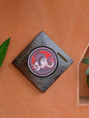 Multicoloured Ganesha Kalamkari Canvas With Wooden Frame & Brass Balls (L-8.7in, W -8.7in, H-0.5in)