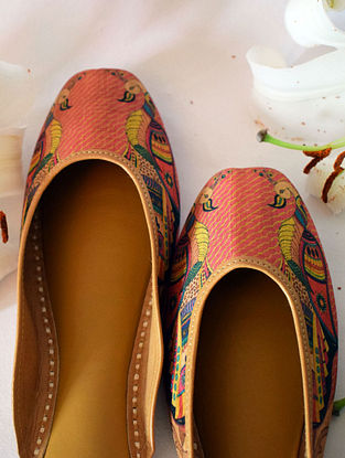 Pink Handcrafted Printed Silk Leather Mojaris