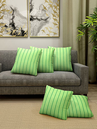 Parrot Green Cotton Cushion Cover With Filler Set of 5 (L-16in, W-16in)
