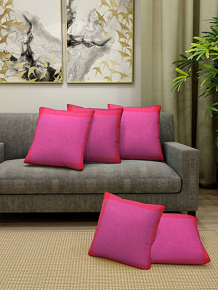 Magenta Cotton Cushion Cover With Filler Set of 5 (L-16in, W-16in)