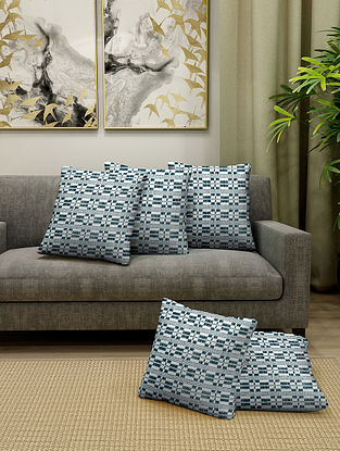 Green Cotton Cushion Cover With Filler Set of 5 (L-16in, W-16in)