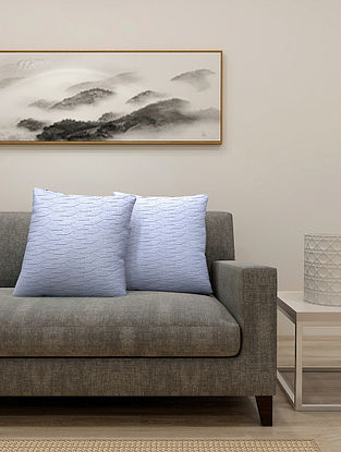 Sky Blue Cotton Cushion Cover With Filler Set of 2(L-16in, W-16in)