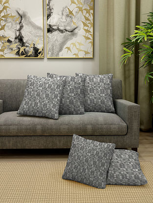 Grey Cotton Cushion Cover Set of 5 With Filler (L-16in, W-16in)