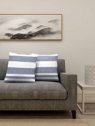 Blue Cotton Cushion Cover Set of 2 With Filler (L-16in, W-16in)