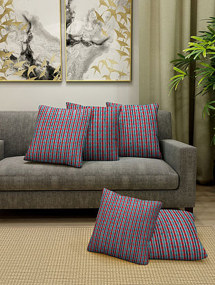 Multicolored Cotton Cushion Cover Set of 5 With Filler (L-16in, W-16in)
