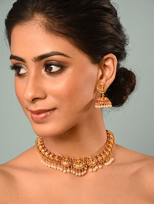 Red Gold Tone Temple Necklace With Jhumki Earrings