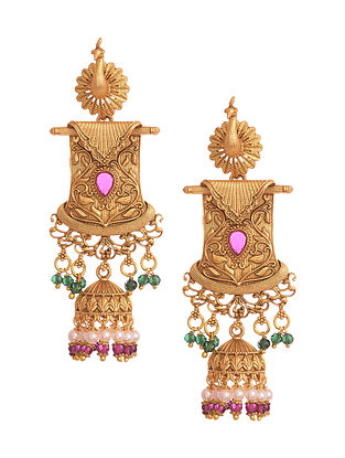 Pink Green Gold Tone Temple Earrings With Pearls