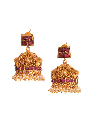 Red Gold Tone Temple Jhumki Earrings With Pearls