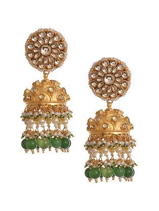 Green Gold Tone Kundan Jhumki Earrings
