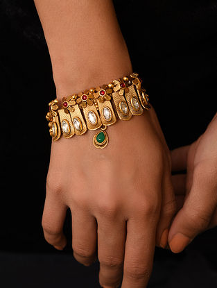 Green Red Gold Tone Kundan Bracelet