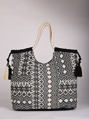 Black White Handcrafted Canvas Tote Bag