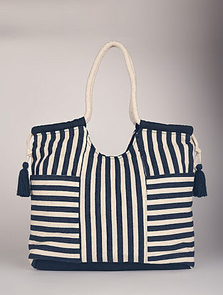 Blue White Handcrafted Canvas Tote Bag