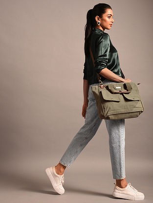 Green Handcrafted Canvas Tote Bag
