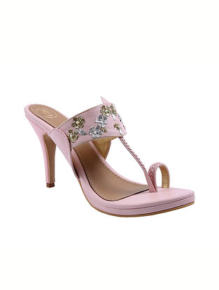 Pink Handcrafted Faux Leather Kolhapuri Pencil Heels