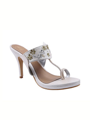 White Handcrafted Faux Leather Kolhapuri Pencil Heels