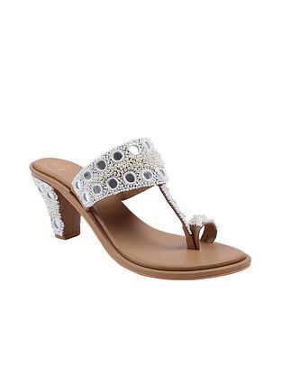 White Handcrafted Faux Leather Kolhapuri Block Heels